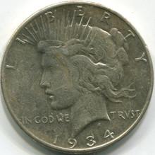 1934 S Peace Dollar , VF