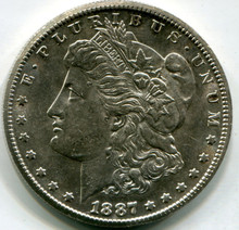 1887 S Morgan Dollar,  AU58