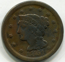 1851 Large Cent, VF