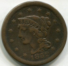 1852 Large Cent,  VF
