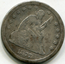 1877 CC Seated Liberty Quarter, VG/F