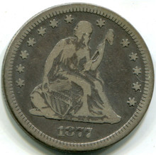 1877 S Seated Liberty Quarter,  F+