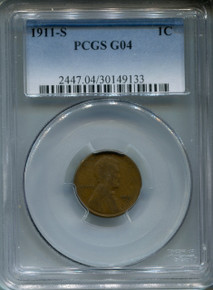 1911 S Lincoln Cent, PCGS G04