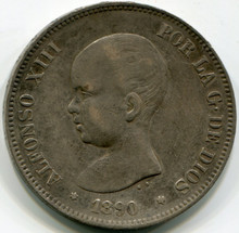 1890 Spain 5 Pesetas, KM689, XF