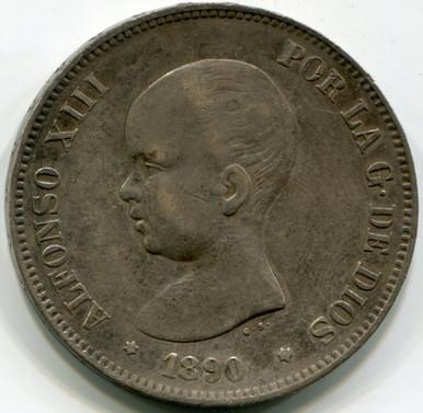 1890 Spain 5 Pesetas, KM689, XF