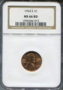 1954 S Lincoln Cent , NGC MS66RD