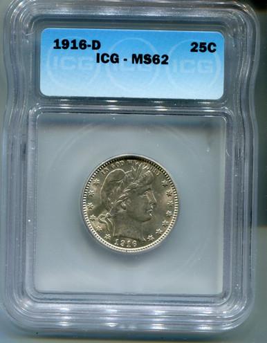 1916 D Barber Quarter, ICG MS62