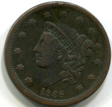 1838 Large  Cent , VF