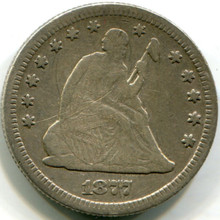 1877 Seated Quarter, VF