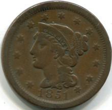 1851 Large Cent, F