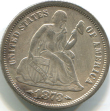 1873 Seated Dime, XF , Arrows