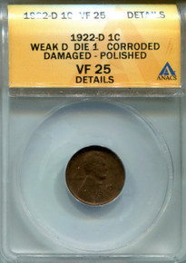 1922 D Lincoln Cent, ANACS VF25 Details