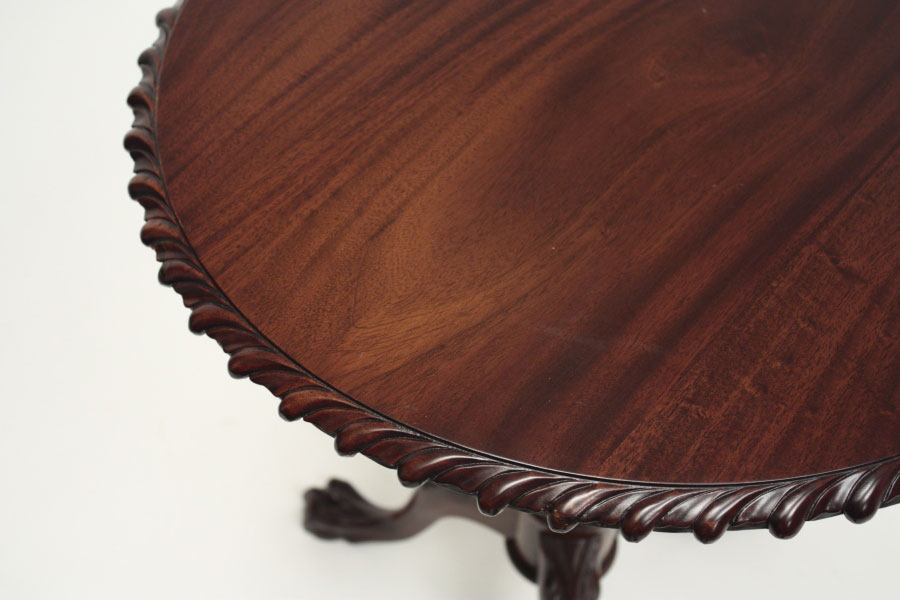 A solid wood Chippendale tea table from Laurel Crown