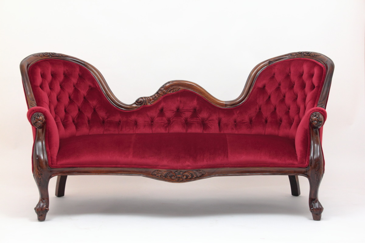 Victorian reproduction settee in red velvet by Laurel Crown