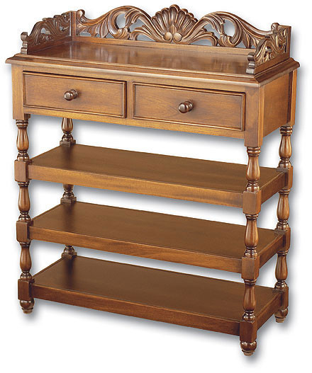 Large shell carved whatnot shelves laurel crown furniture