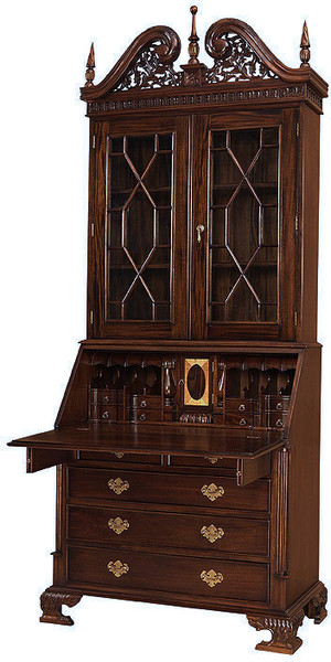 Chippendale Secretary Bookcase by Laurel Crown