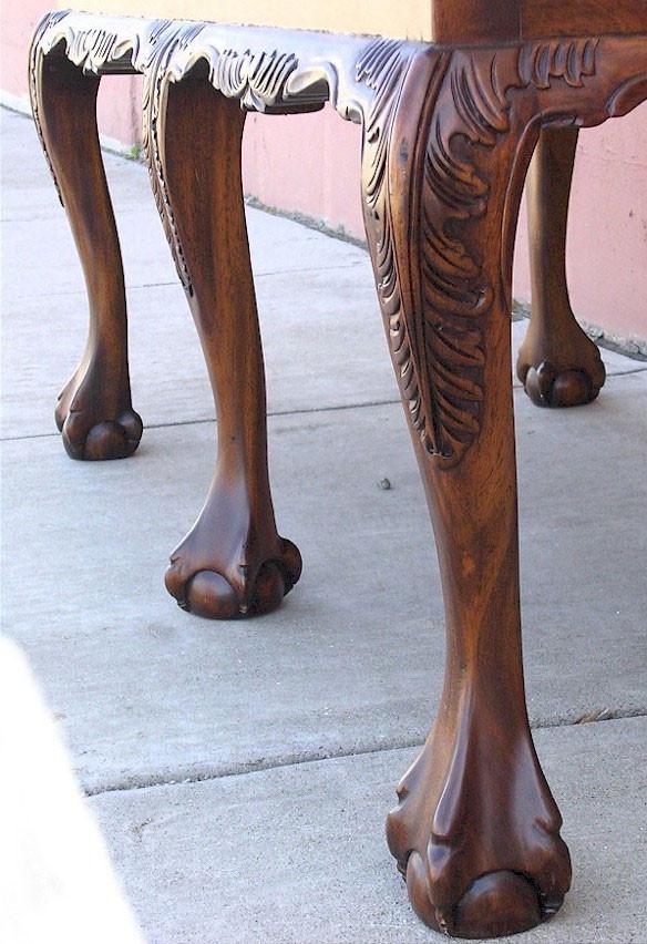 Chippendale Upholstered Bench Laurel Crown Furniture