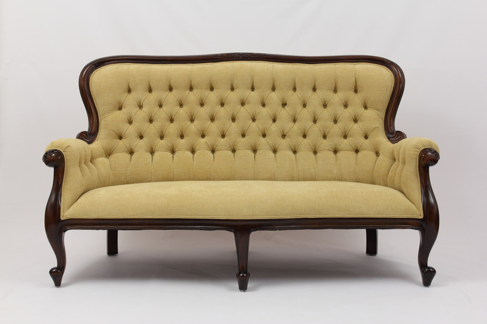 Grandfather Sofa in Yellow Softknit Fabric