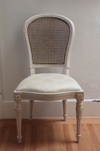 Louis XVI Chair with antique caning and cream painted finish