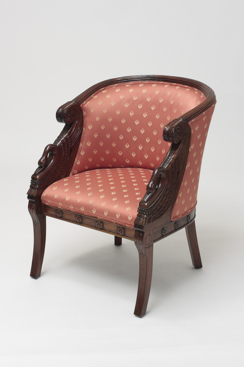 - French Antique Tub Chair Laurel Crown Furniture