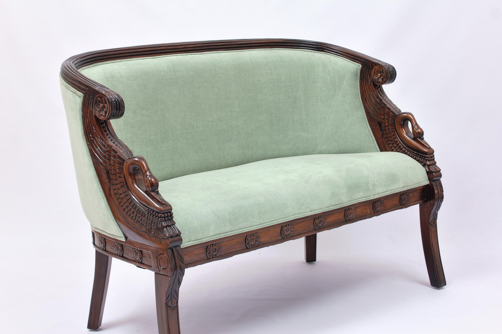 Swan Loveseat in Light Green Velvet upholstery