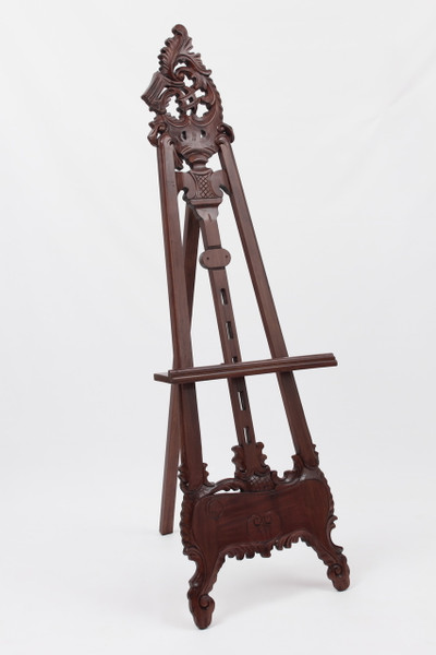 "Hand Carved Mahogany Picture Easel - 66"" tall"