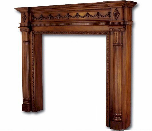 "Large Mahogany Fireplace Mantel with Classical Columns - 48"" Opening"