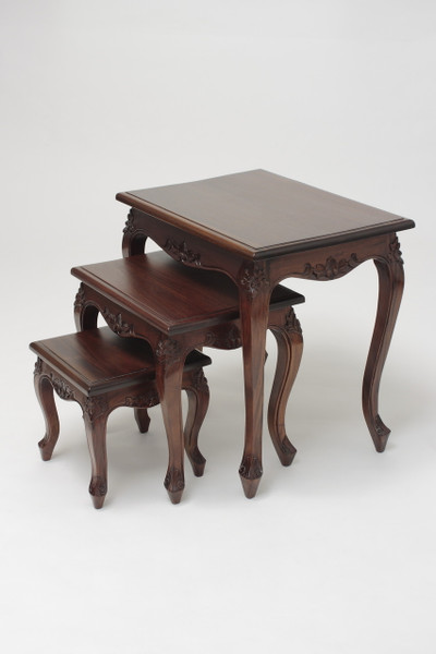 French Antique Mahogany Nesting Tables