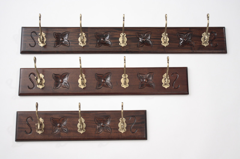 Mahogany Wall Coat Hangers Rack - Small