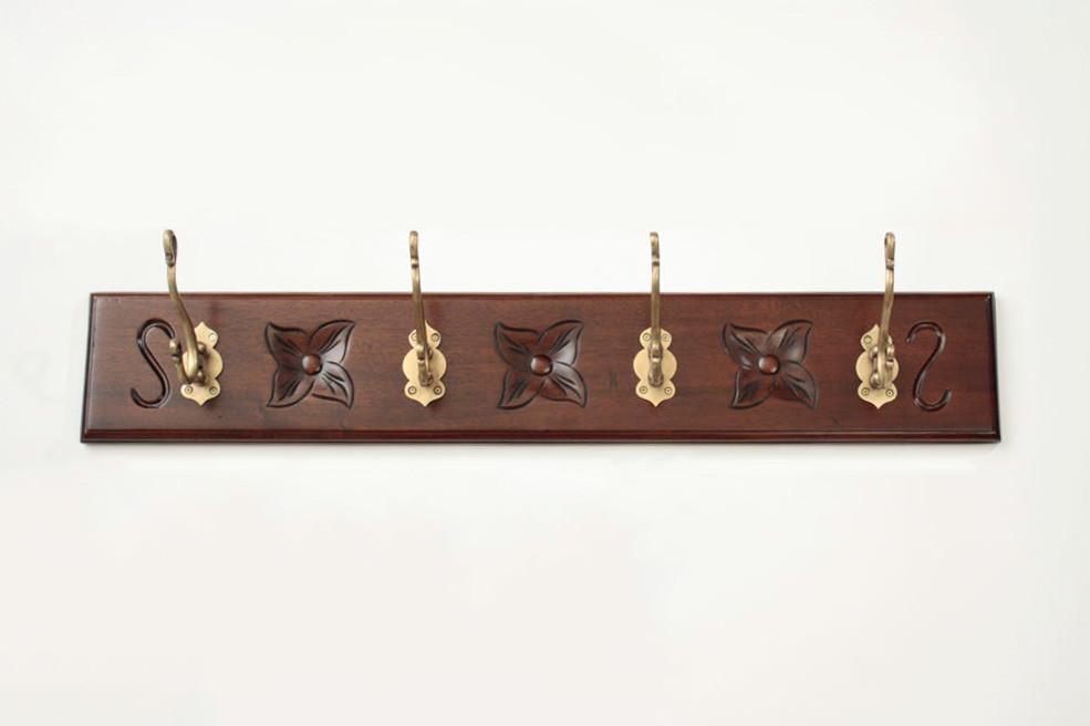 Mahogany Wall Coat Rack (4 Hooks)