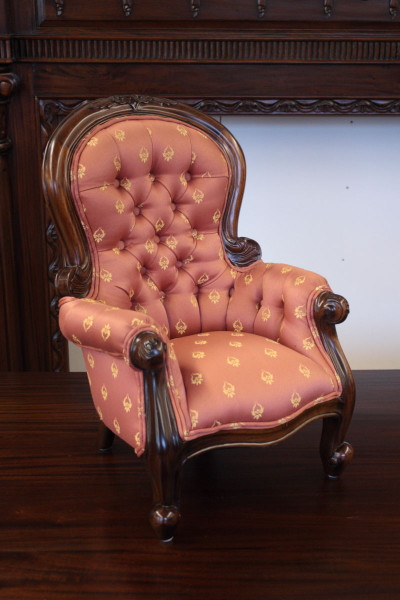 Miniature Victorian Spoon-Back Armchair - 1/2 Scale