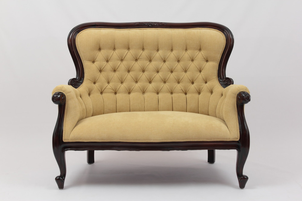 Grandfather Settee in Yellow Softknit Fabric