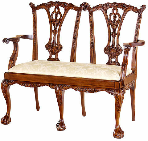 Chippendale Two-Seater Settee with Ball and Claw Feet