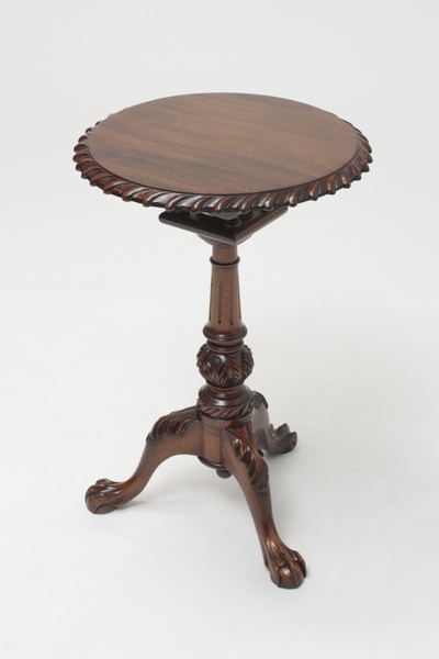 "Chippendale Mahogany Tilt Top Tea Table - 15.5"" Diameter"