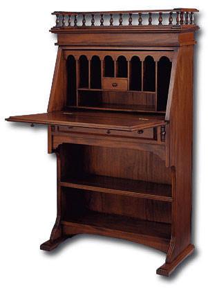 Narrow Colonial Drop-Front Secretary Desk