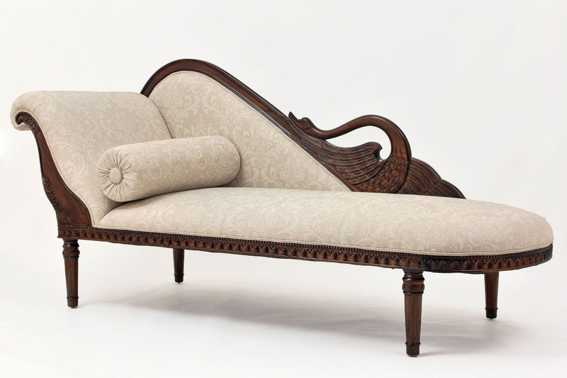 Swan Chaise Lounge in Grey Print