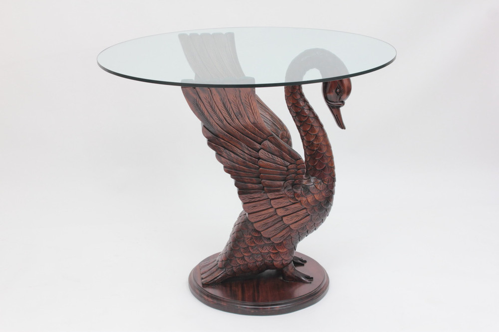Swan Table carved from solid mahogany wood