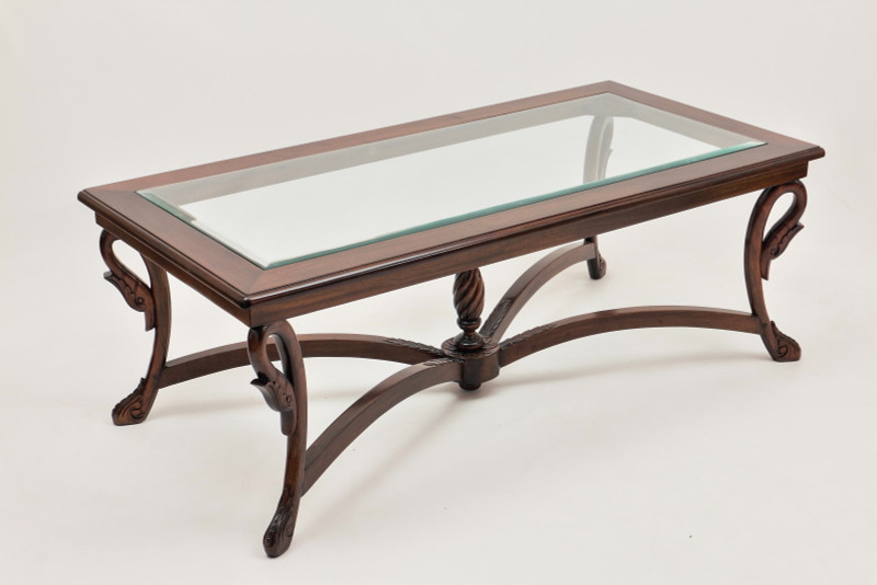 Empire Coffee Table with Carved Swans and Beveled Glass