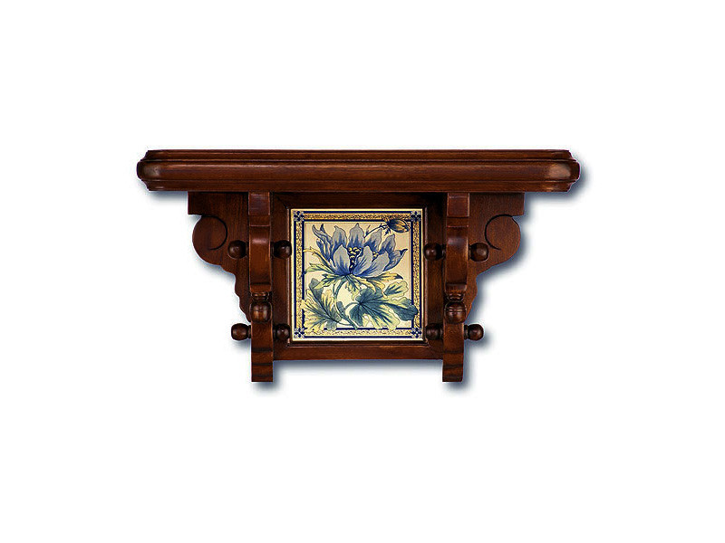Small Wooden Wall Shelf with Ceramic Tile