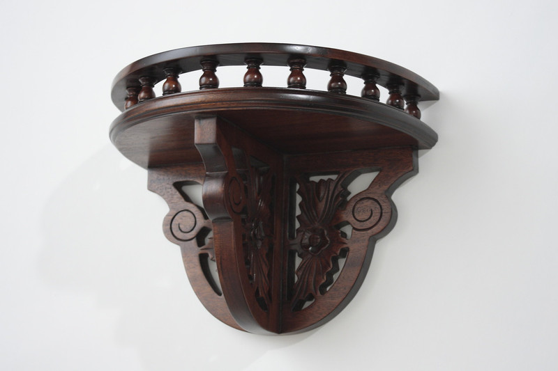 Mahogany Demilune Wall Shelf