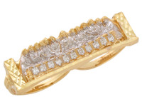 Two-Tone Gold Accented Last Supper Two Finger Mens Ring (JL#10714)