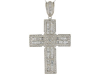 Brilliant Baguette and Round CZ Accented Latin Cross Pendant (JL#9873)