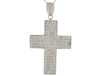 Brilliant Accented Huge Traditional Latin Cross Pendant (JL#9871)