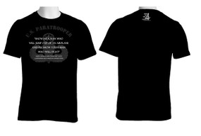 American made custom 100% Cotton Black T-Shirt featuring quote from General Gavin.