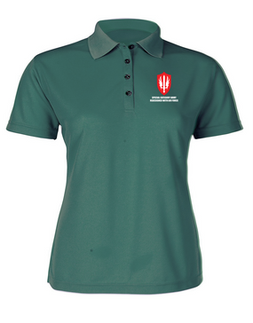 SCARWAF Ladies Embroidered Moisture Wick Polo Shirt