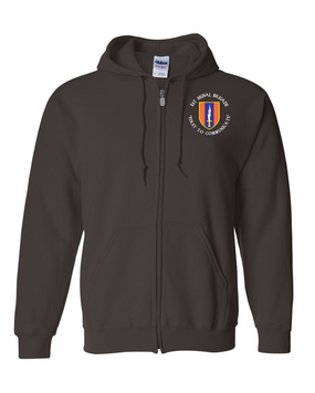 1st Signal Brigade Embroidered Hooded Sweatshirt with Zipper (C)