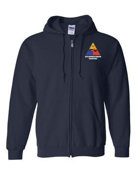 30th Armored Division Embroidered Hooded Sweatshirt with Zipper