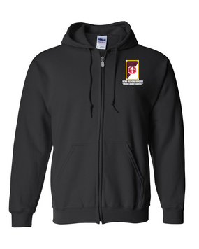 62nd Medical Brigade Embroidered Hooded Sweatshirt with Zipper