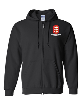 130th Engineer Brigade Embroidered Hooded Sweatshirt with Zipper