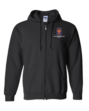 "SOCCENT ""Crest""  Embroidered Hooded Sweatshirt with Zipper"
